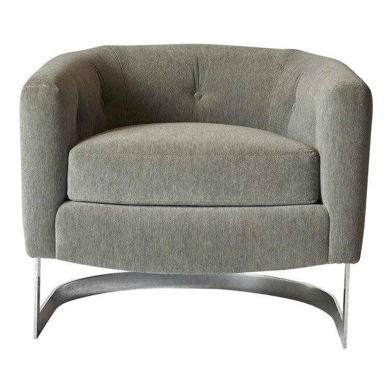 Milo Baughman Barrel Back Lounge Chair For Sale