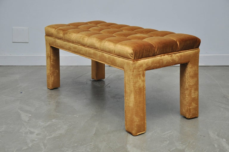 Mid-Century Modern Milo Baughman Biscuit Tufted Bench For Sale