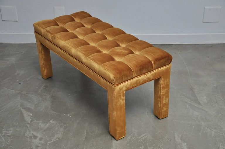 American Milo Baughman Biscuit Tufted Bench For Sale