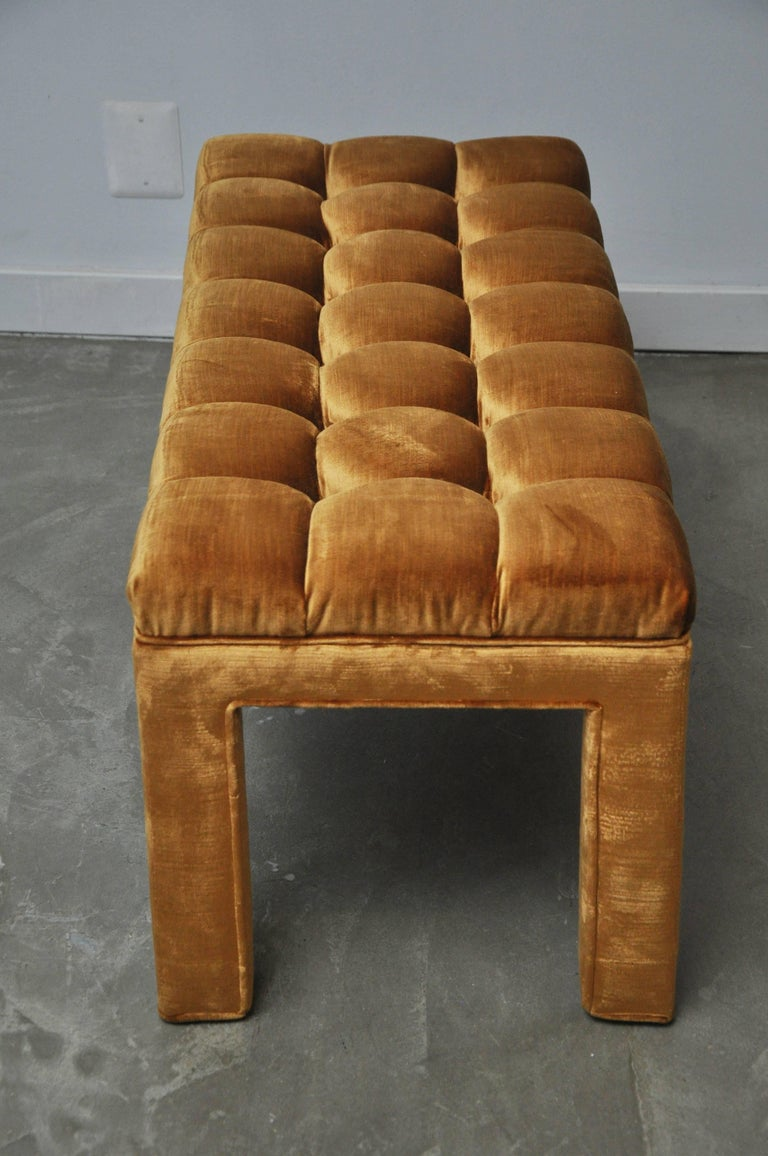 Mid-20th Century Milo Baughman Biscuit Tufted Bench For Sale