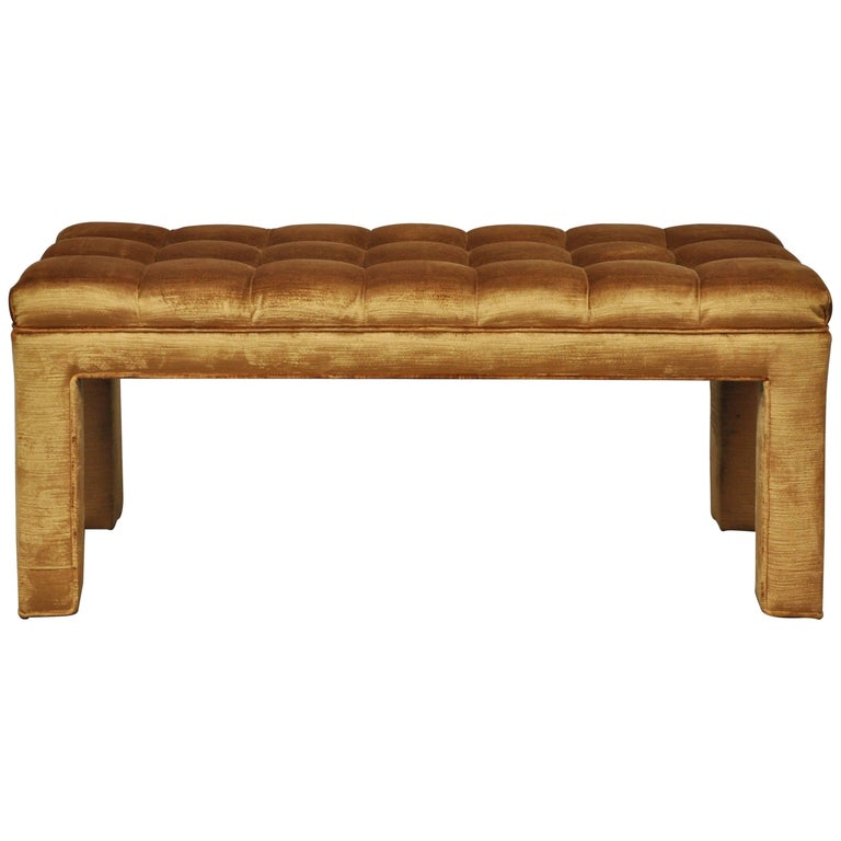 Milo Baughman Biscuit Tufted Bench For Sale