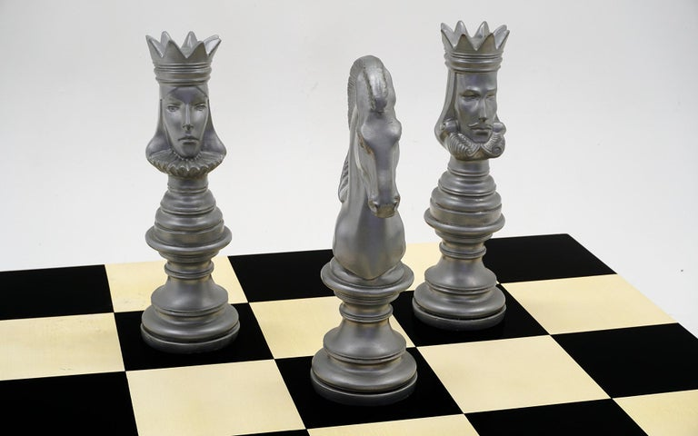 American Milo Baughman Black & White Checkerboard Coffee Table with 3 Large Chess Pieces For Sale