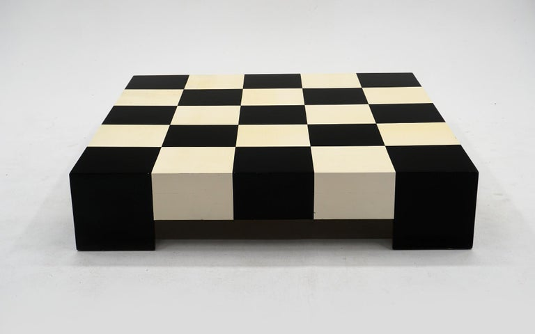 Lacquered Milo Baughman Black & White Checkerboard Coffee Table with 3 Large Chess Pieces For Sale