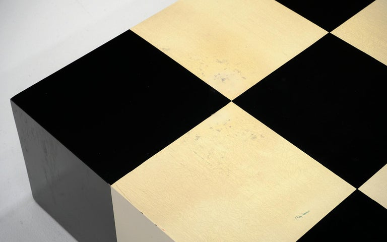 Milo Baughman Black & White Checkerboard Coffee Table with 3 Large Chess Pieces For Sale 2