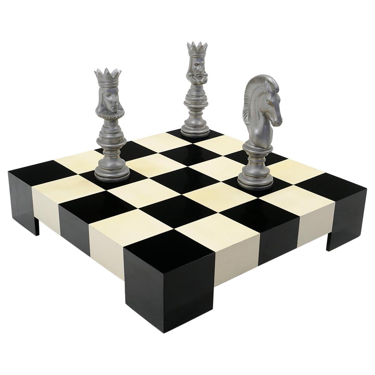 Milo Baughman Black & White Checkerboard Coffee Table with 3 Large Chess Pieces