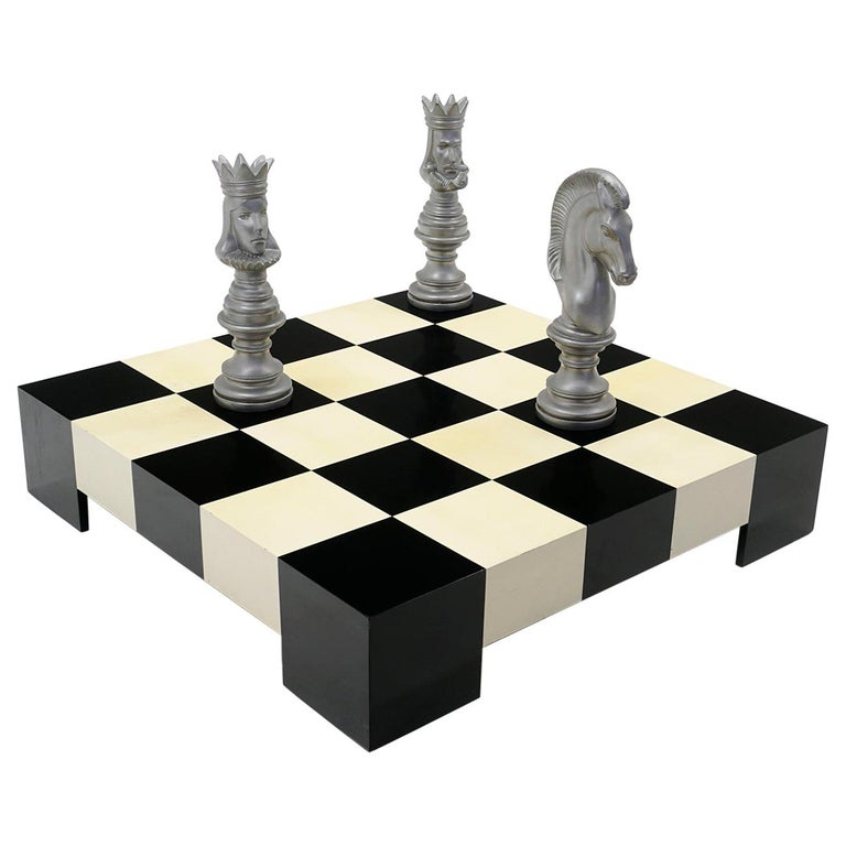 Milo Baughman Black & White Checkerboard Coffee Table with 3 Large Chess Pieces For Sale