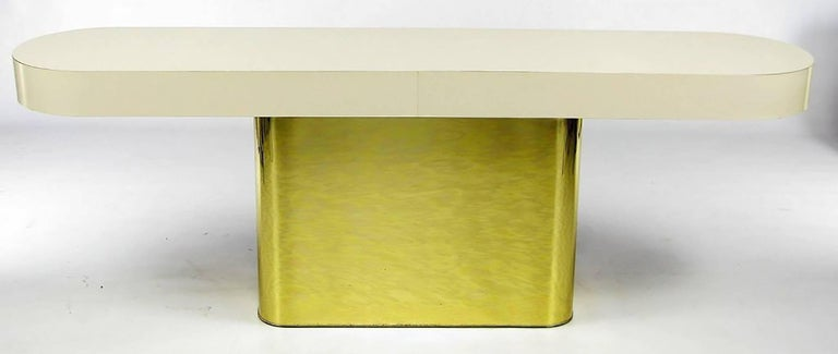 Mid-Century Modern Milo Baughman Brass and Micarta Console Table with Matching Benches For Sale