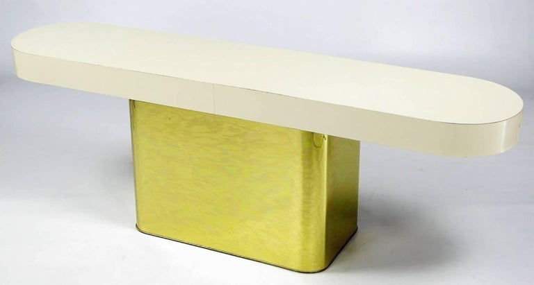 Milo Baughman Brass and Micarta Console Table with Matching Benches In Good Condition For Sale In Chicago, IL