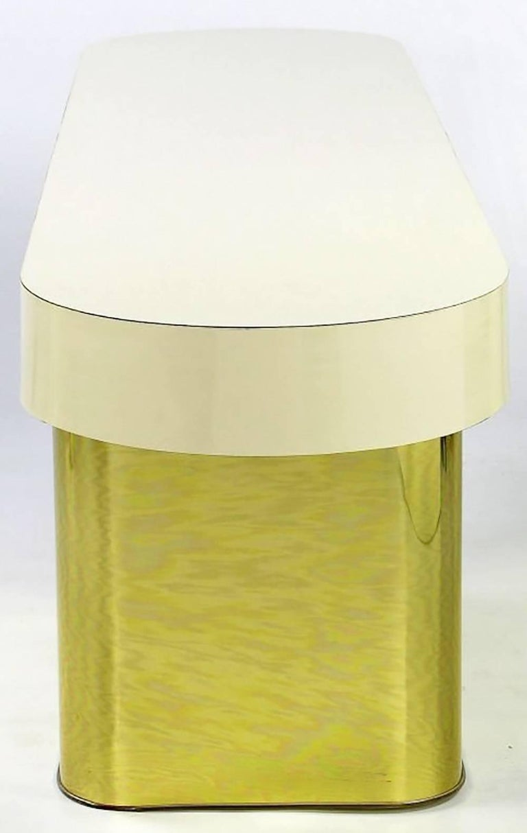 1970s Milo Baughman Brass and Micarta Console Table with Matching Benches For Sale