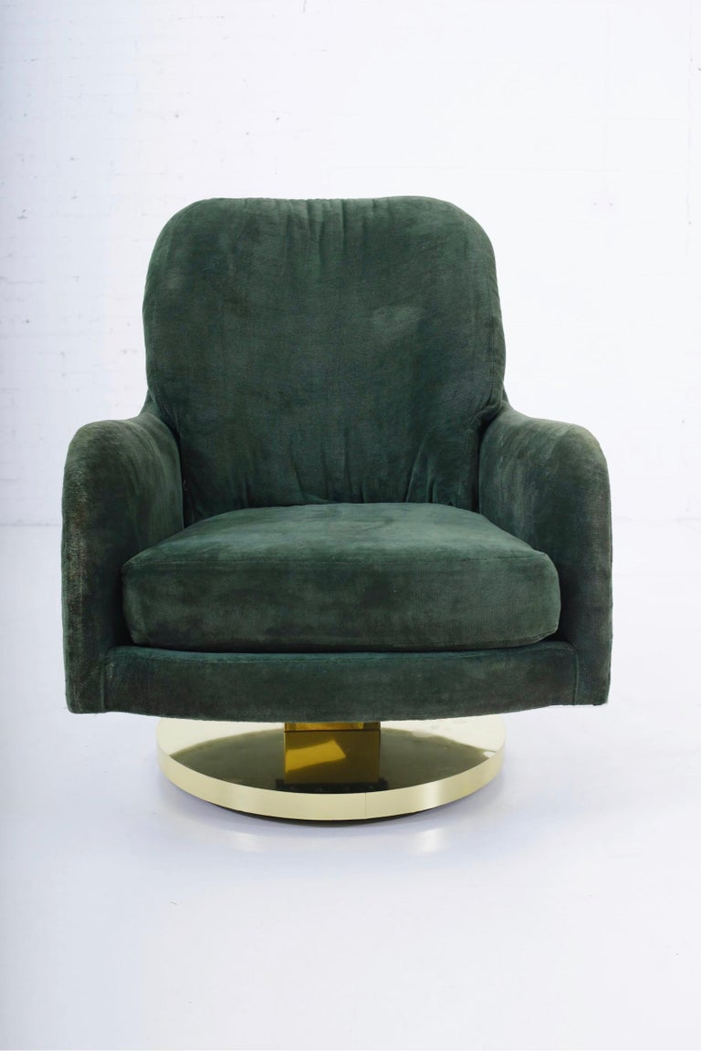 Late 20th Century Milo Baughman Brass Base Swivel Chair For Sale