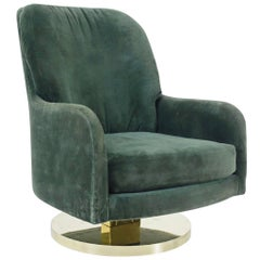 Milo Baughman Brass Base Swivel Chair