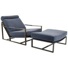 Milo Baughman Bronze Frame 1965 Lounge Chair with Ottoman