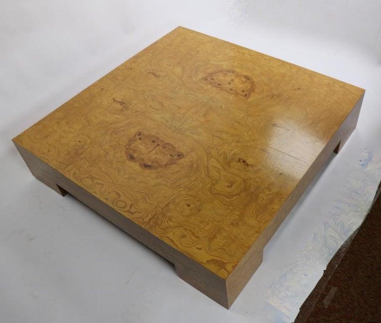 Milo Baughman Burl Coffee Table For Sale 1