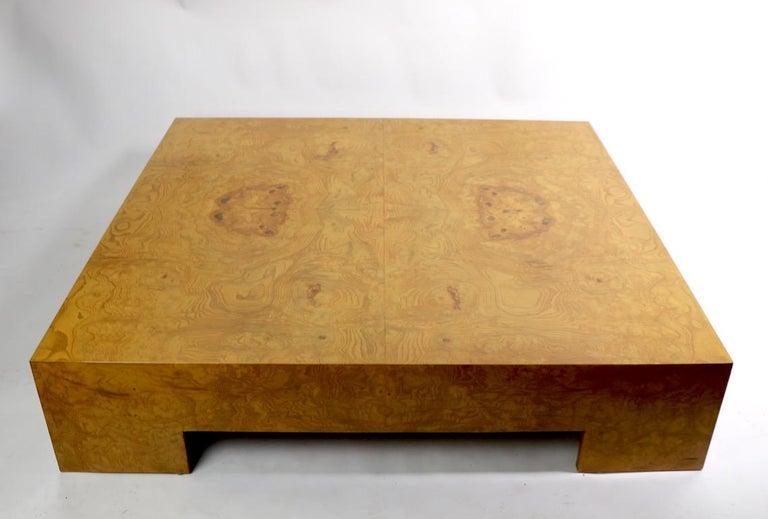 Milo Baughman Burl Coffee Table For Sale 2