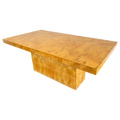 Milo Baughman Burl Pedestal Dining Table