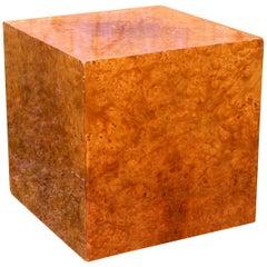 Milo Baughman Burl Veneer Cube Coffee Table
