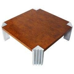 Milo Baughman Burl Wood and Chrome Coffee Table