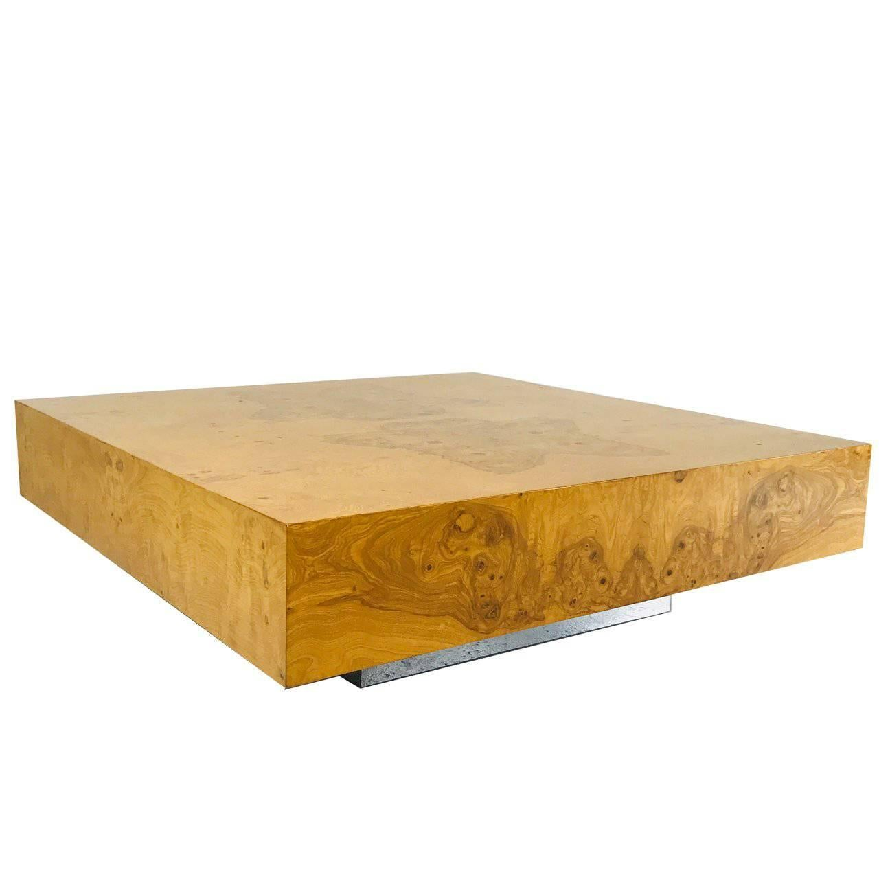 Milo Baughman Burl Wood Coffee Table with Plinth Base For Sale at