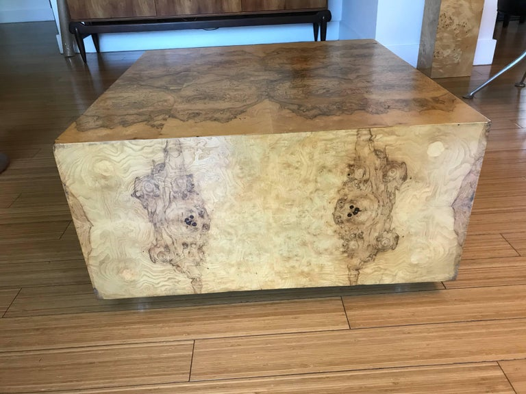 Milo Baughman Burl Wood Cube Coffee Table With Storage At