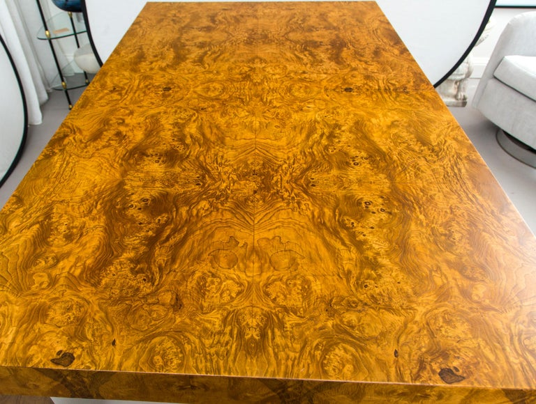 Burl wood table with two leaves, designed by Milo Baughman. Fully extended, table measures 110 inches.