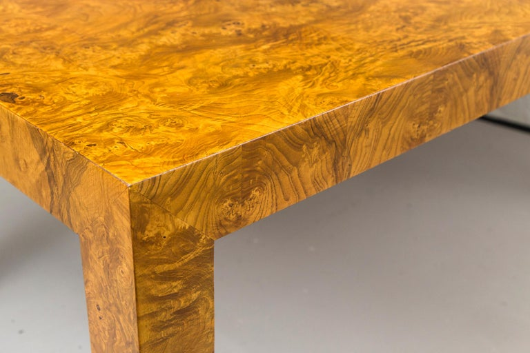 American Milo Baughman Burl Wood Dining Table with Two Leaves For Sale