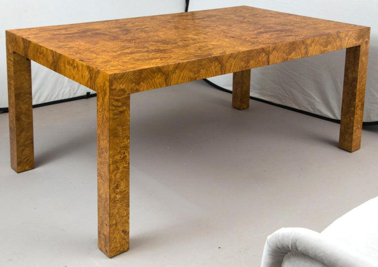 Milo Baughman Burl Wood Dining Table with Two Leaves For Sale 1