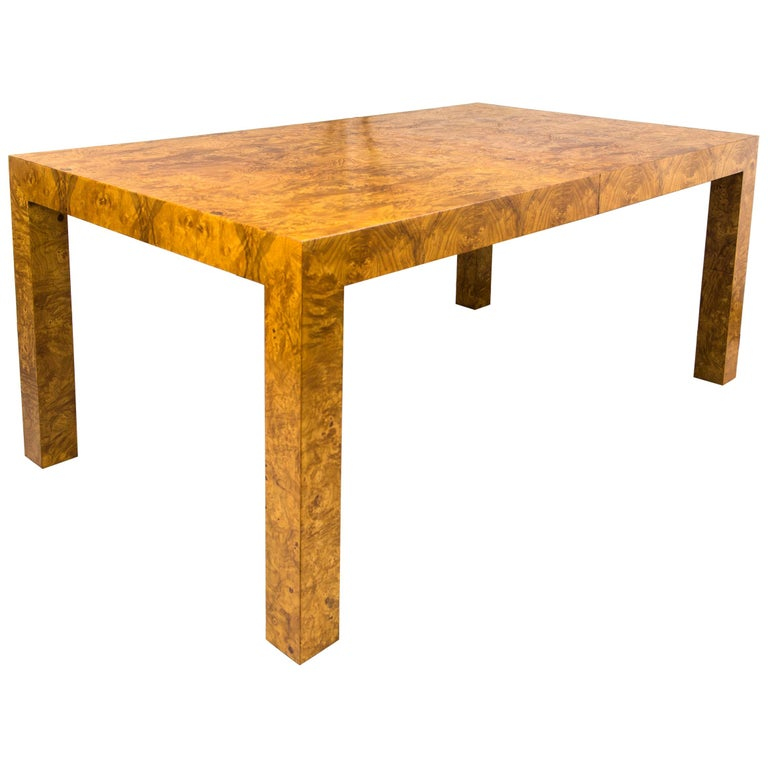 Wood Dining Table For Sale: Milo Baughman Burl Wood Dining Table With Two Leaves For