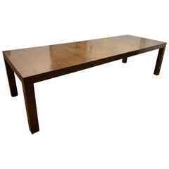 Milo Baughman Burl Wood Dining Table with Two Leaves