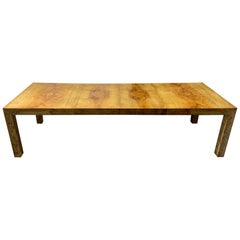 Signed Milo Baughman Burl Wood Dining Table with Two Leaves