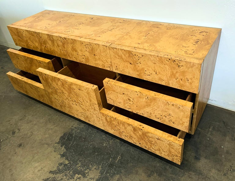 Late 20th Century Milo Baughman Burl Wood Dresser or Credenza For Sale