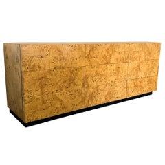 Milo Baughman Burl Wood Dresser or Credenza