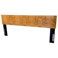 Milo Baughman Style Burl Wood King Headboard