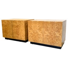 Milo Baughman Burl Wood Nightstands or Side Tables, a Pair
