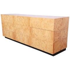 Milo Baughman Burled Olive Wood Long Dresser or Credenza