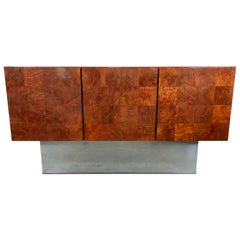 Milo Baughman Burled Patchwork Walnut and Chrome Tall Credenza,/Modernist