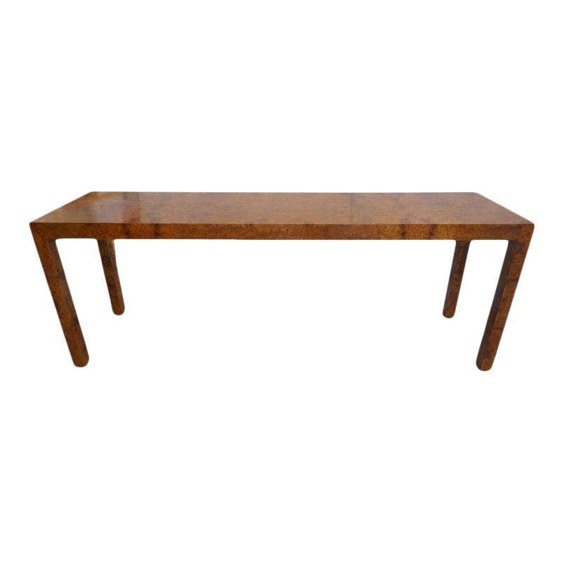 Milo Baughman Burlwood Console Table