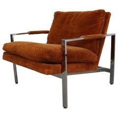 Milo Baughman Burnt Orange Lounge Chair by Thayer Coggin Chrome Flat Bar