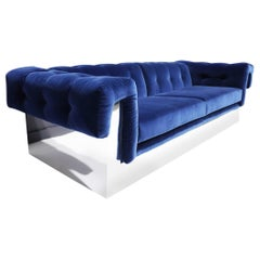 Milo Baughman Button Tufted Chrome Sofa in a French Blue Velvet