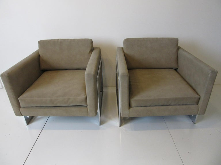 Milo Baughman Cantilever Cube Chairs for Thayer Coggin For Sale 3