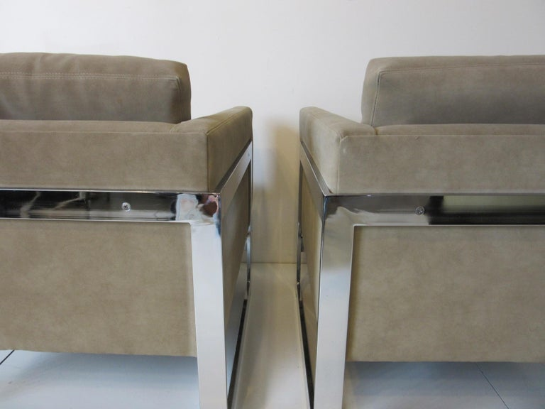Milo Baughman Cantilever Cube Chairs for Thayer Coggin In Good Condition For Sale In Cincinnati, OH