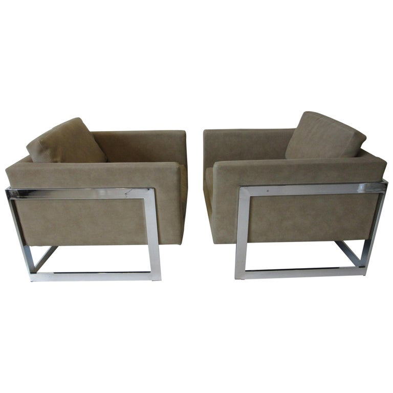 Milo Baughman Cantilever Cube Chairs for Thayer Coggin For Sale