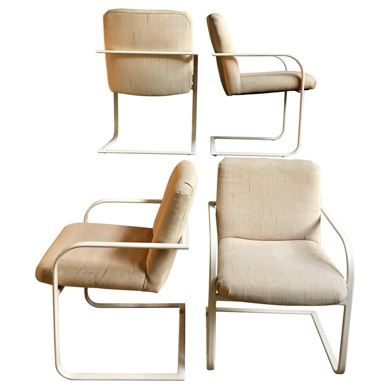 Milo Baughman Cantilever Dining Lounge Armchairs for Thayer Coggin, 1980s For Sale