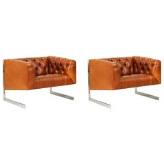 Milo Baughman Cantilever Steel & Leather Tufted Lounge Chairs for Thayer Coggin