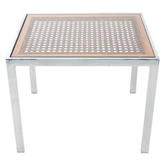 Milo Baughman Chrome and Caned Side Table