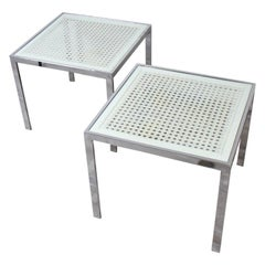 Milo Baughman Chrome and Caned Side Tables