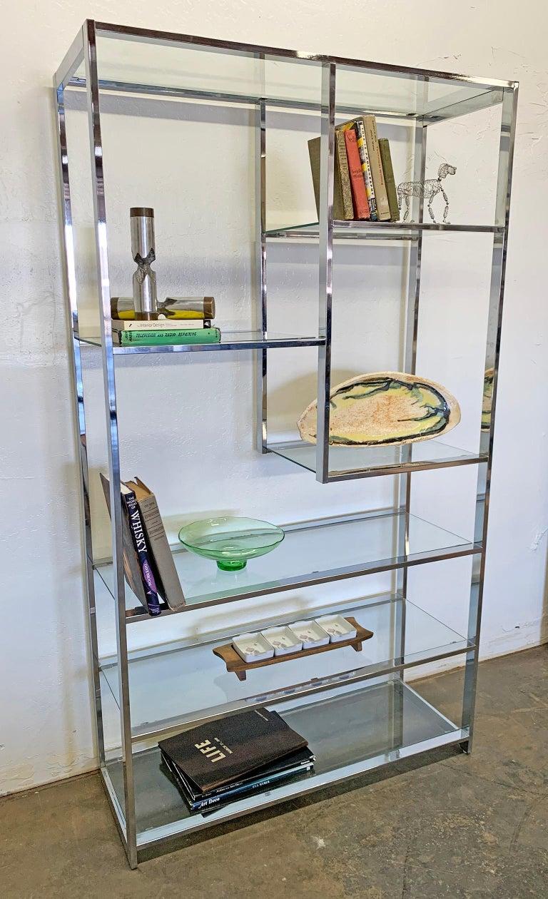 Mid-Century Modern Milo Baughman Chrome and Glass Étagère For Sale