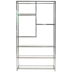 Milo Baughman Chrome and Glass Étagère or Shelving or Display