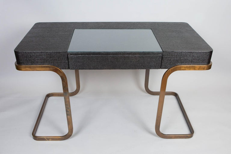 Mid-Century Modern Milo Baughman Chrome and Lacquered Raffia Desk For Sale