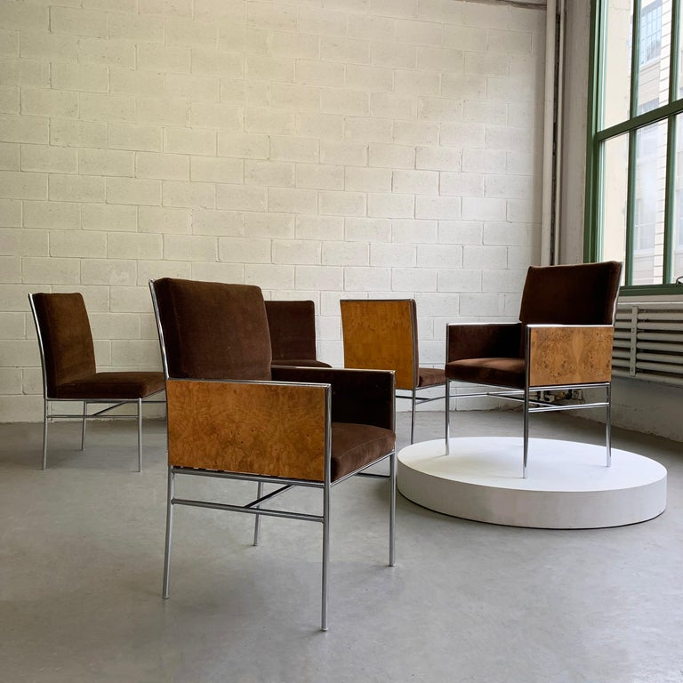 Mid-Century Modern Milo Baughman Chrome and Olive Burl Upholstered Dining Chairs For Sale
