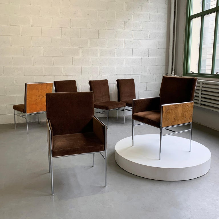 Milo Baughman Chrome and Olive Burl Upholstered Dining Chairs In Good Condition For Sale In Brooklyn, NY